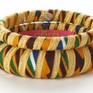 Cara Couture Yellow Ethnic Print Fabric Bangle Set
